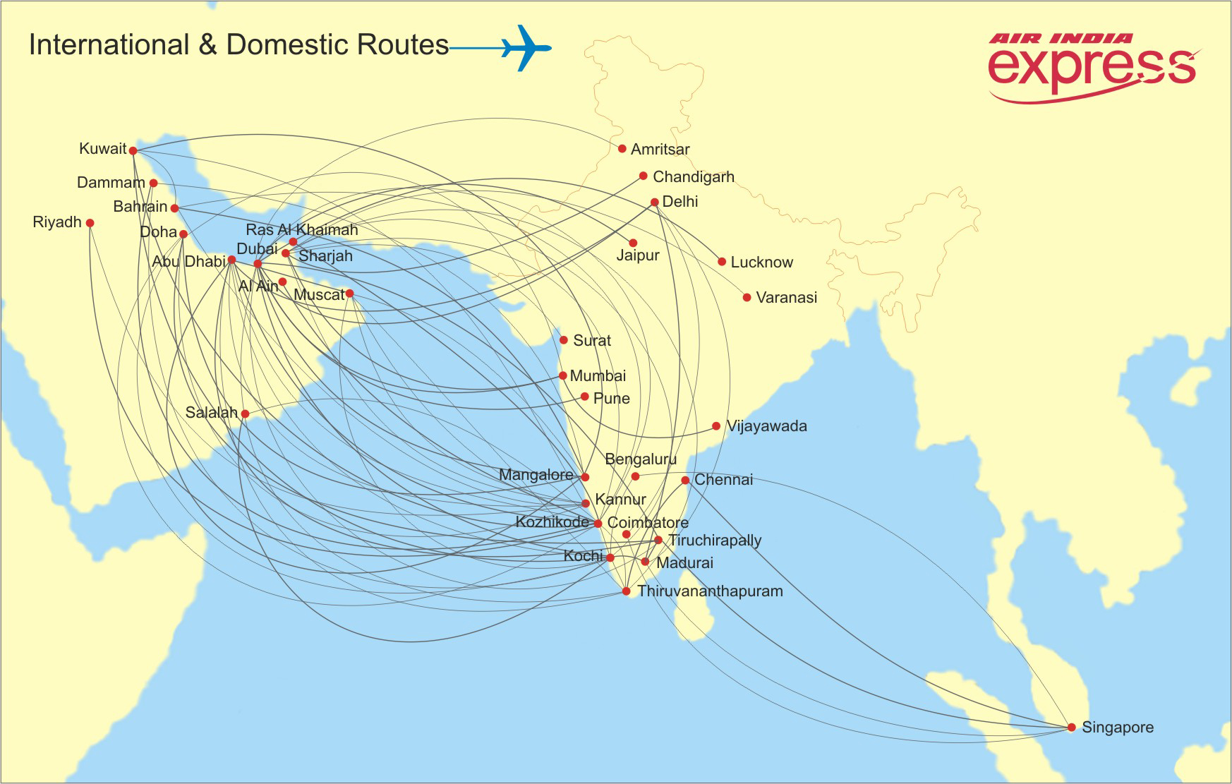 air map of india Express Route Map And Schedule Air India Express air map of india